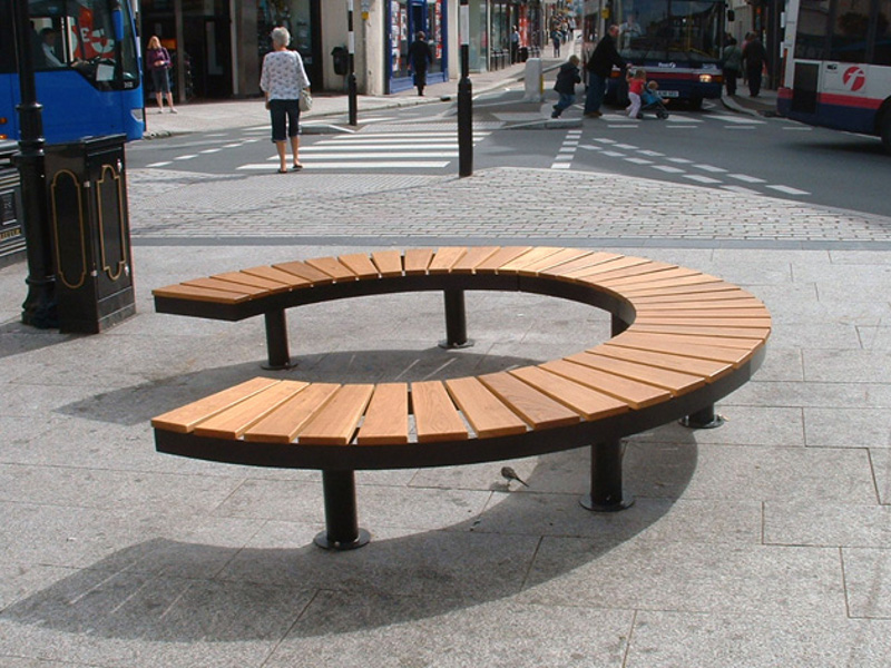 Sectional Curved Steel And Wood Bench Chronos 90 By Factory Street Furniture