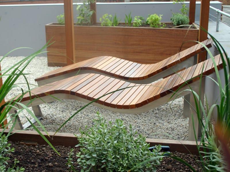Chaise longue en acier inoxydable et bois skop collection for Chaises longues en bois et toile