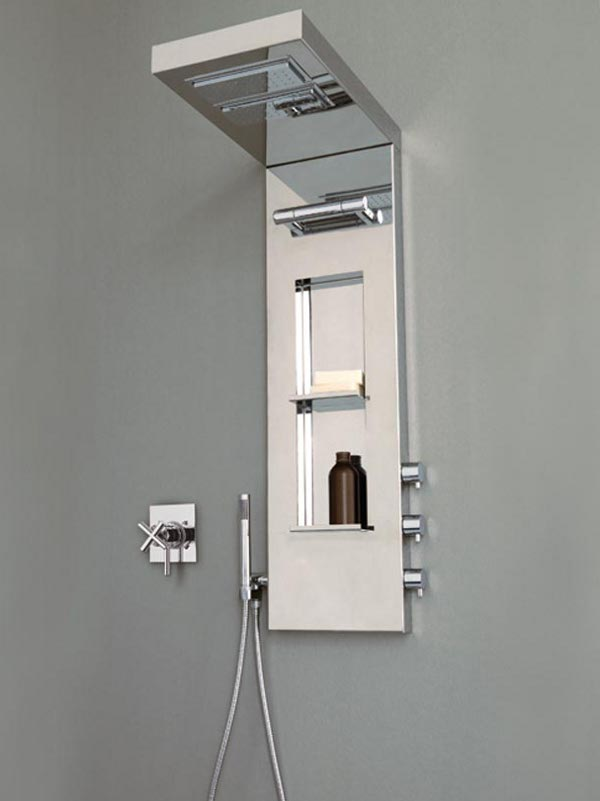 Colonna doccia multifunzione con soffione york panel by - Dove posizionare soffione doccia ...