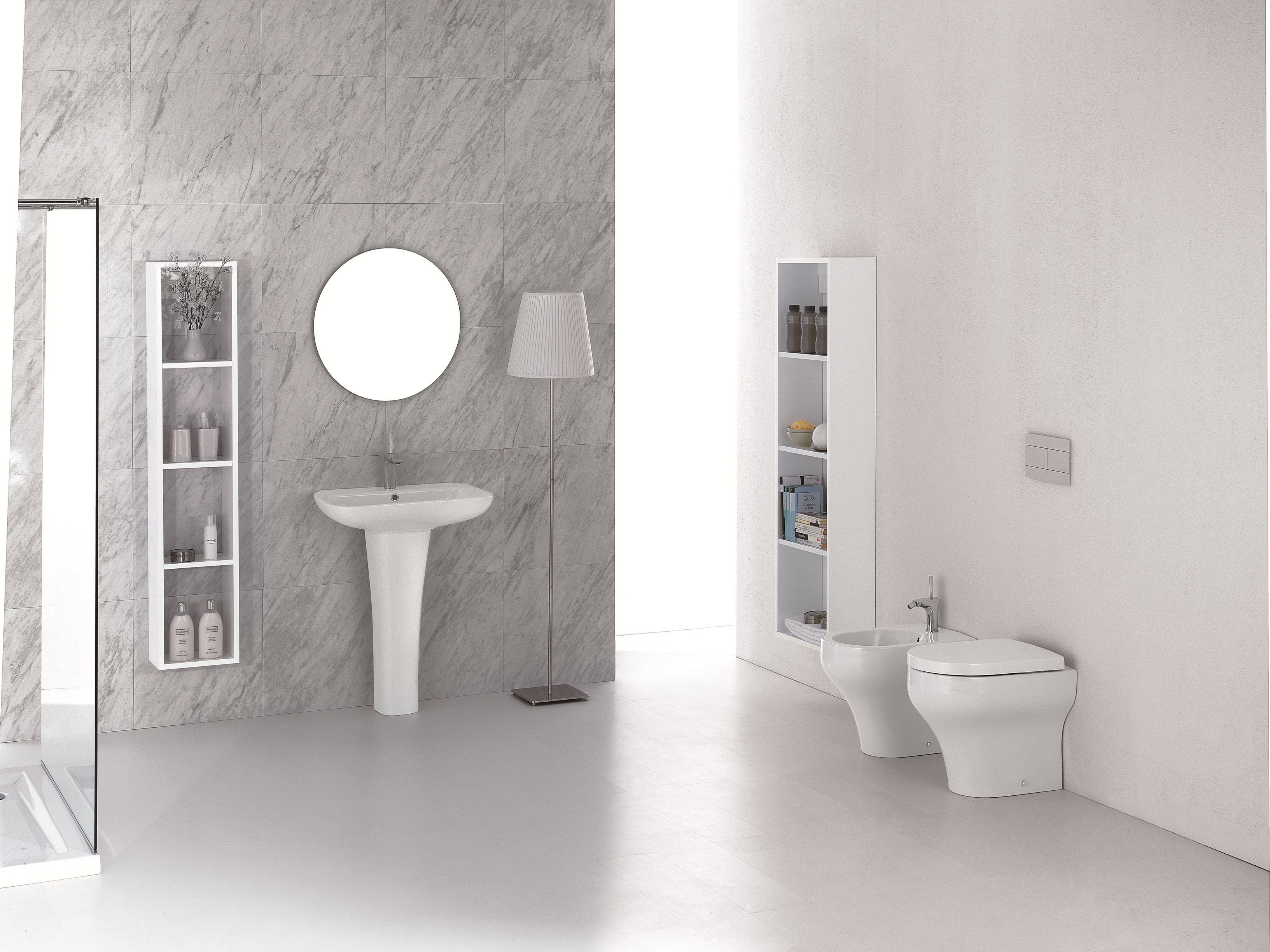 Clear tall bathroom cabinet by olympia ceramica
