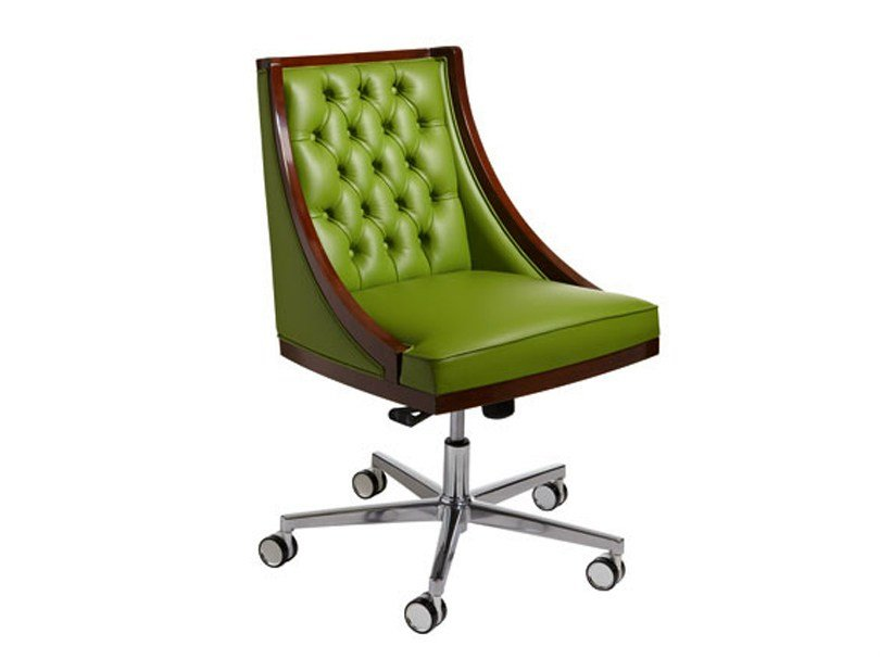 tufted leather easy chair with 5 spoke base with casters