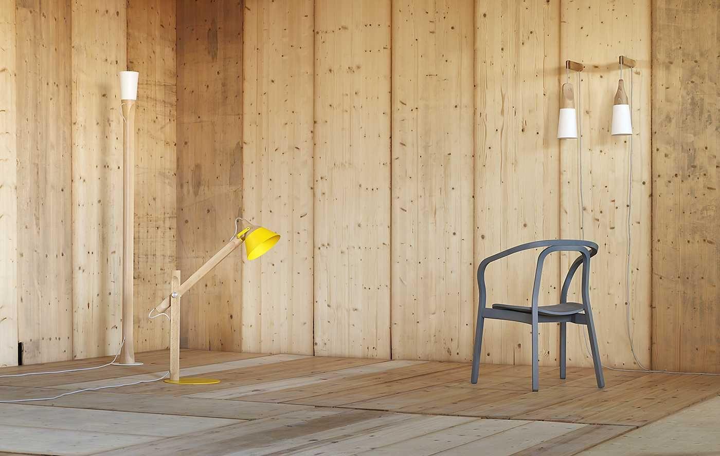 Slope lampada da parete by miniforms design skrivo - Parete interna in legno ...
