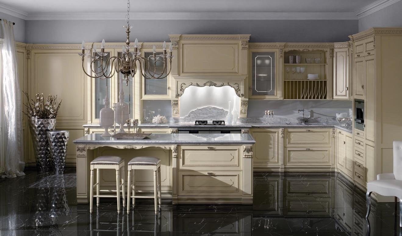 Cucina laccata foglia argento in stile veneziano serenissima by ca 39 d 39 oro by ged arredamenti - Cucina stile veneziano ...