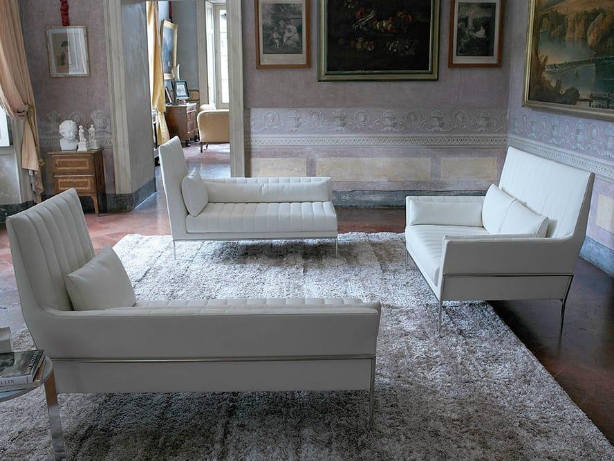 Divano imbottito in pelle con schienale alto divano a 2 posti collezione prestige by contempo - Divano schienale alto ...