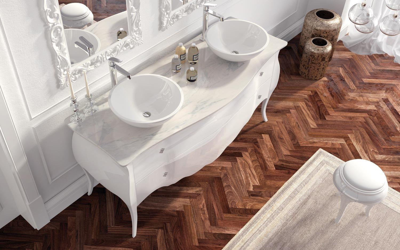 Mobile lavabo doppio laccato in stile classico con ...