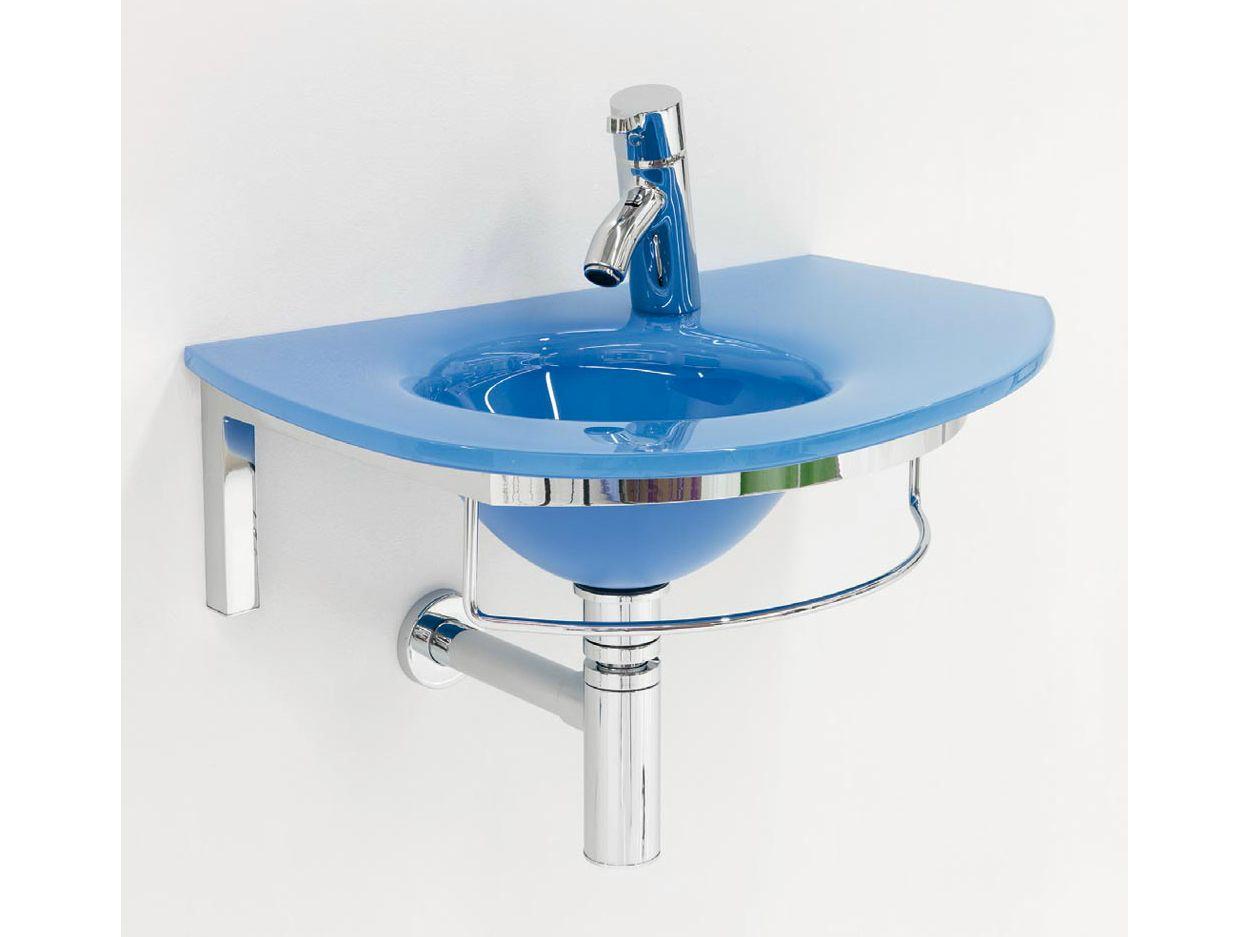 Lavabo suspendido de cristal con toallero unik 8 by lasa idea - Muebles para lavabos con pie ...