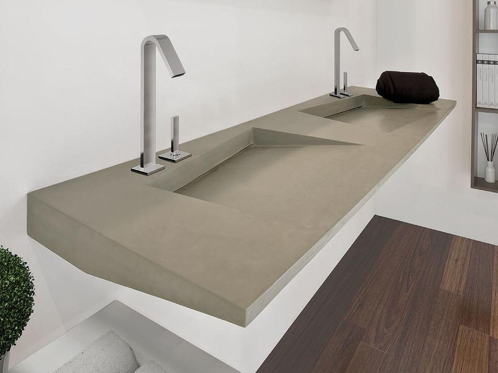 Lavabo doppio rettangolare sospeso flow 10 by lasa idea design studio losavio - Lavabi doppi per bagno ...