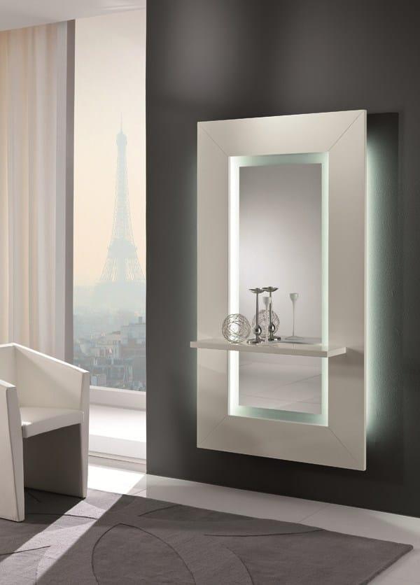 Specchio a parete con cornice sibilla by riflessi design riflessi - Specchio con mensola per ingresso ...