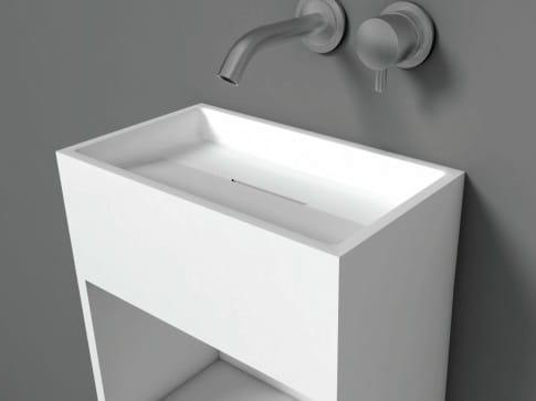 lave mains suspendu en solid surface avec porte. Black Bedroom Furniture Sets. Home Design Ideas