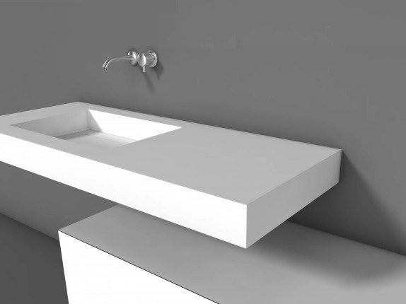 Solid Surface : Single Solid Surface? washbasin with integrated countertop , design ...