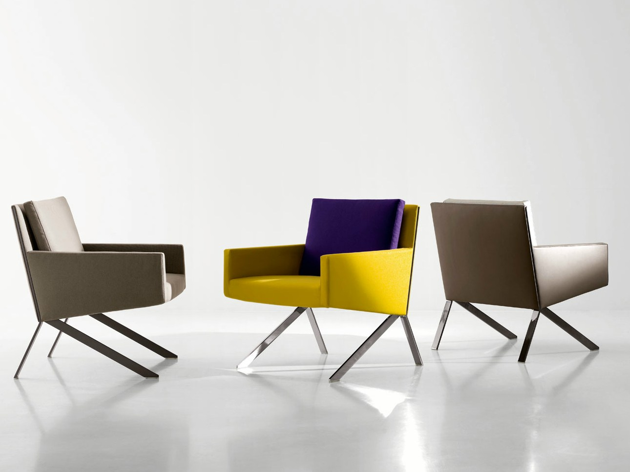 Upholstered fabric armchair with armrests theo theo collection by b b italia design vincent - B b italia design ...