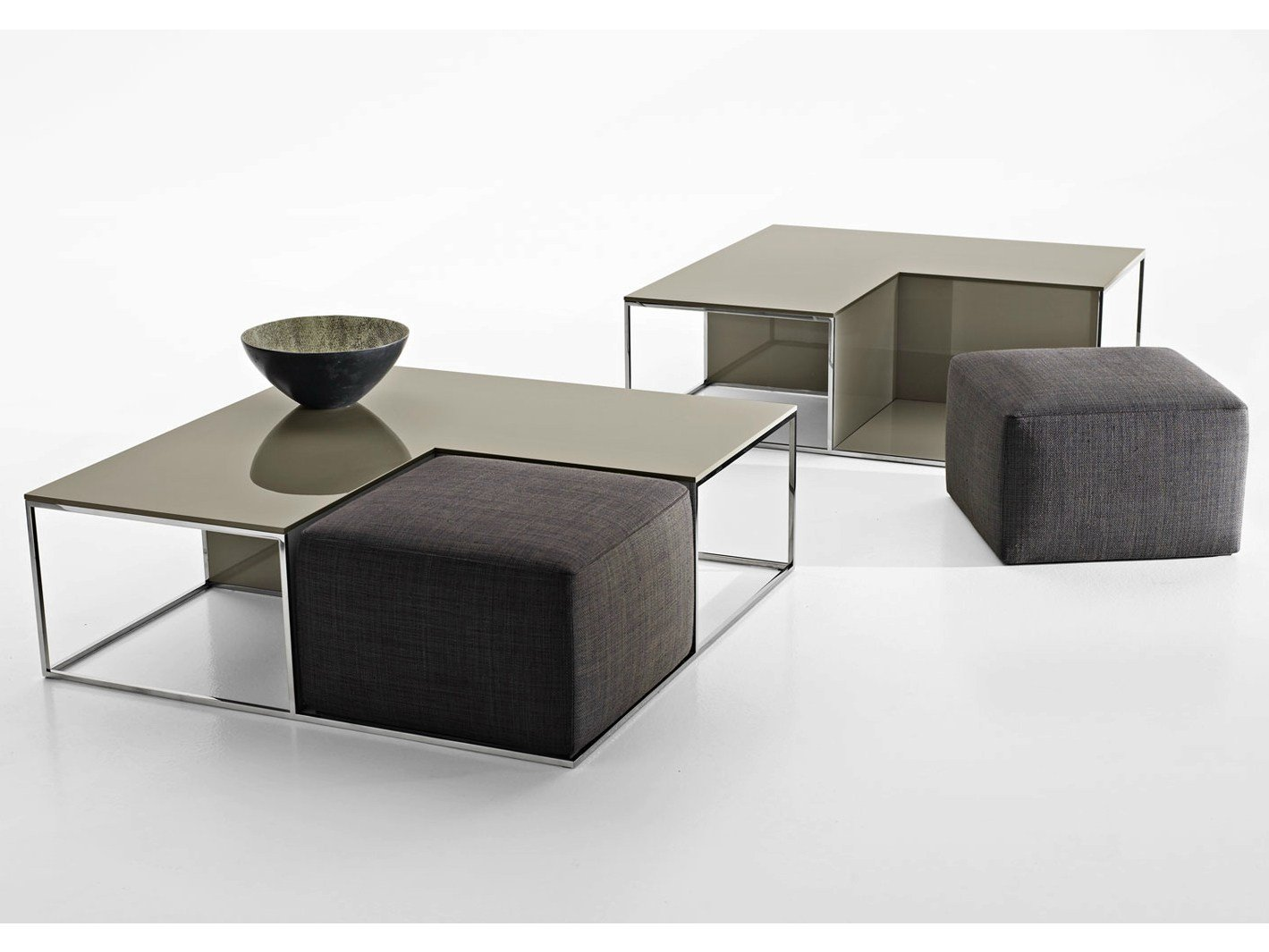 Pouf coffee table area by b b italia design paolo piva - Table en verre avec pouf ...