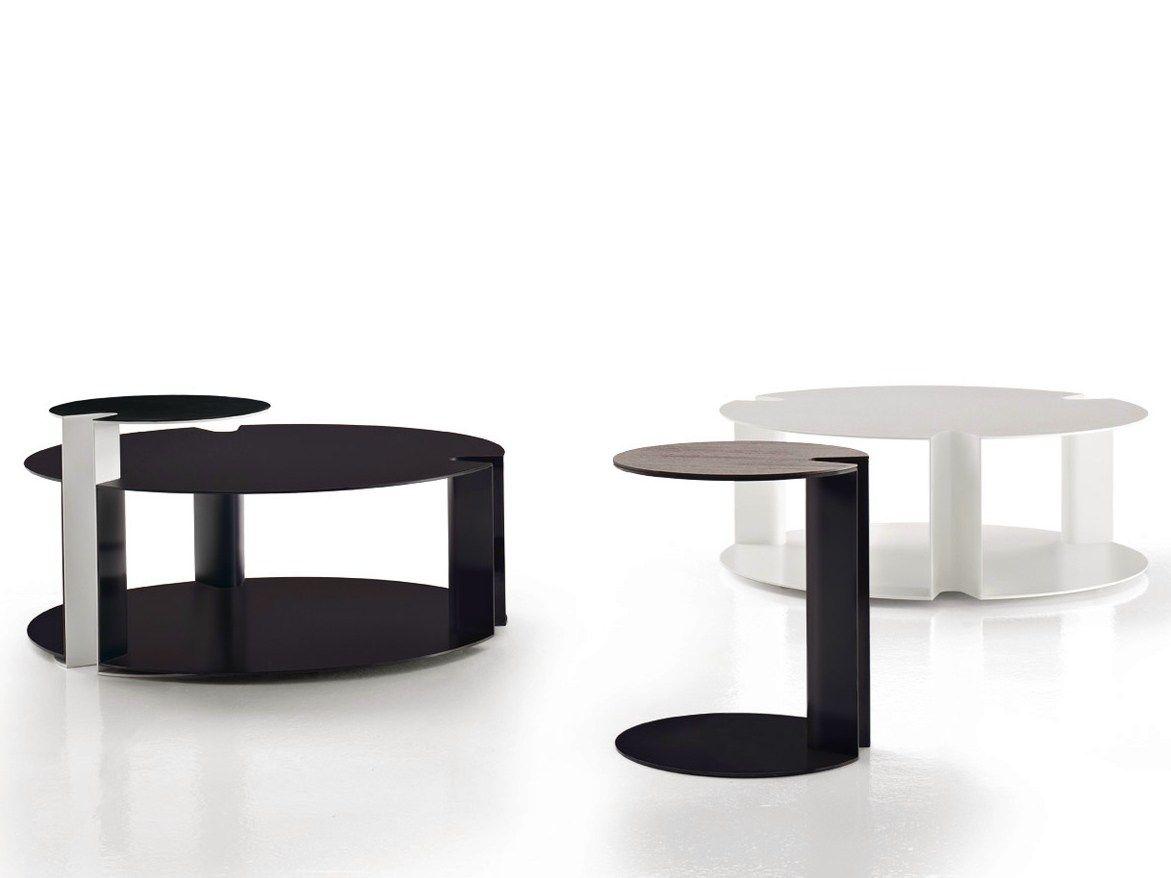 Tavolino rotondo in legno o acciaio nix by b b italia for B b novedrate