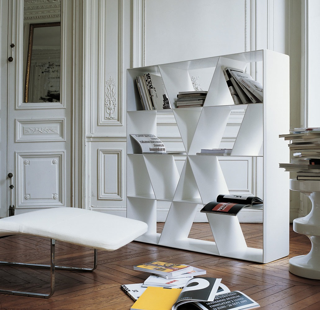 Open Double Sided Corian Bookcase Shelf X By B B Italia Design Naoto Fukasawa