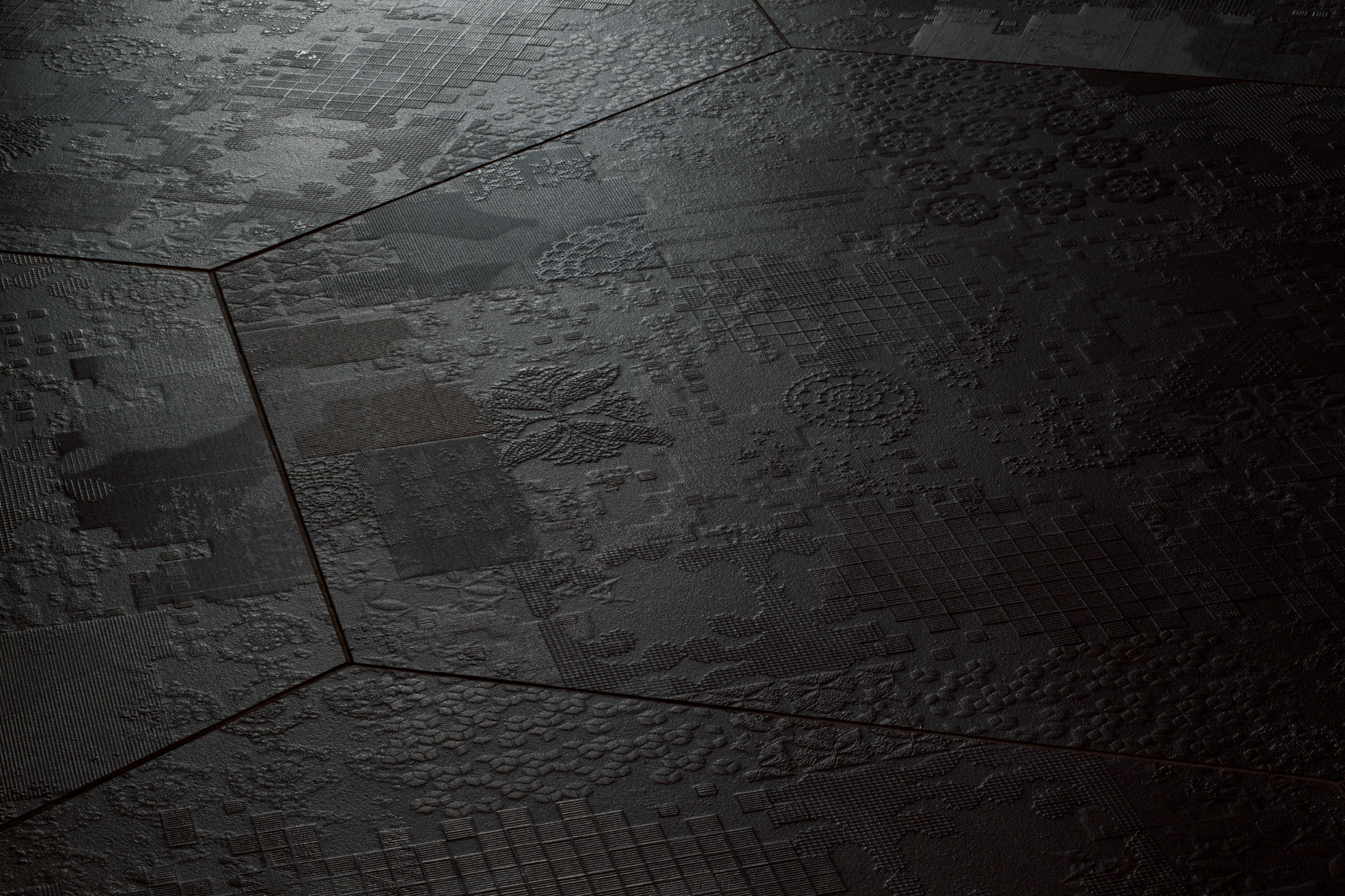 Indoor porcelain stoneware wall floor tiles dechirer decor for Big black floor tiles