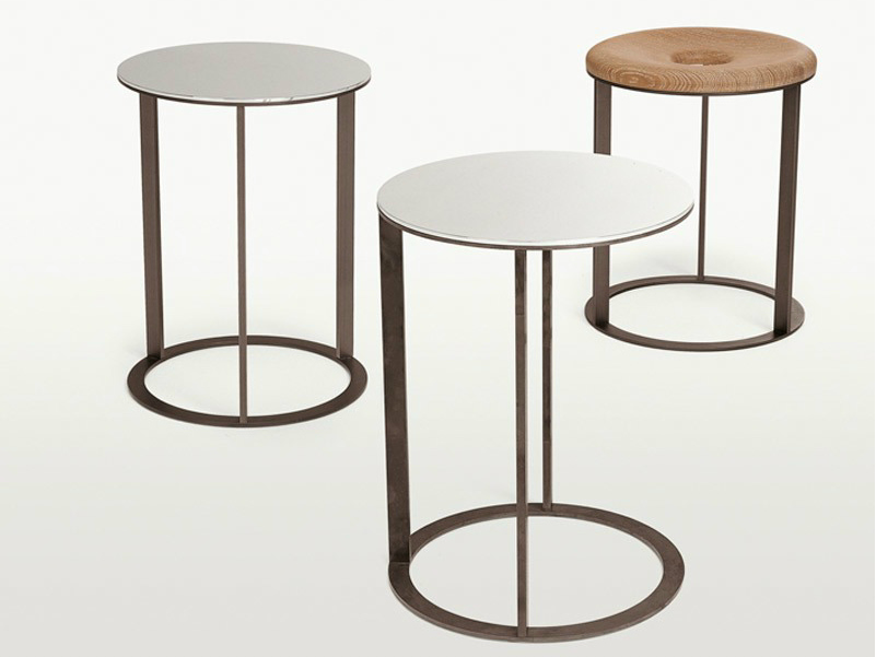 Round Mirrored Glass Coffee Table Elios Collection By Maxalto A Brand Of B B Italia Spa