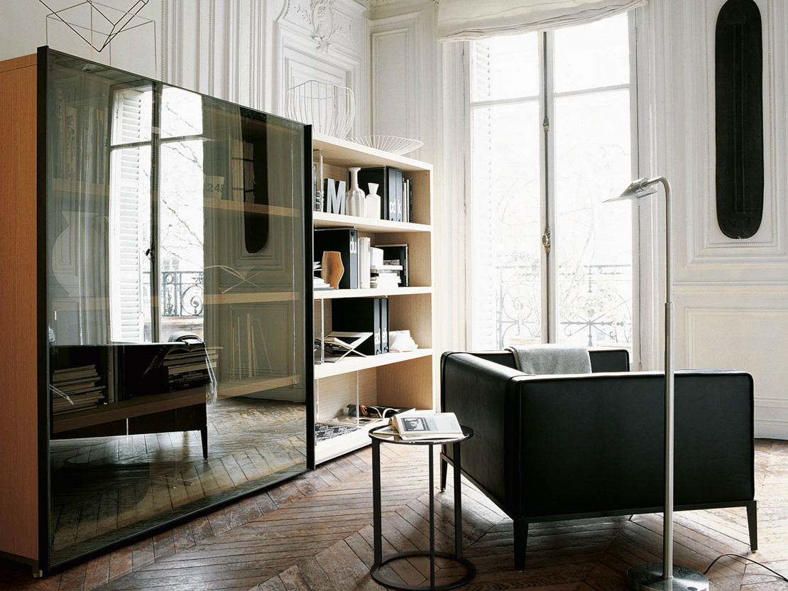 Wonderful image of  wooden bookcase MIDA Bookcase Maxalto a brand of B&B Italia Spa with #6F482C color and 1110x832 pixels