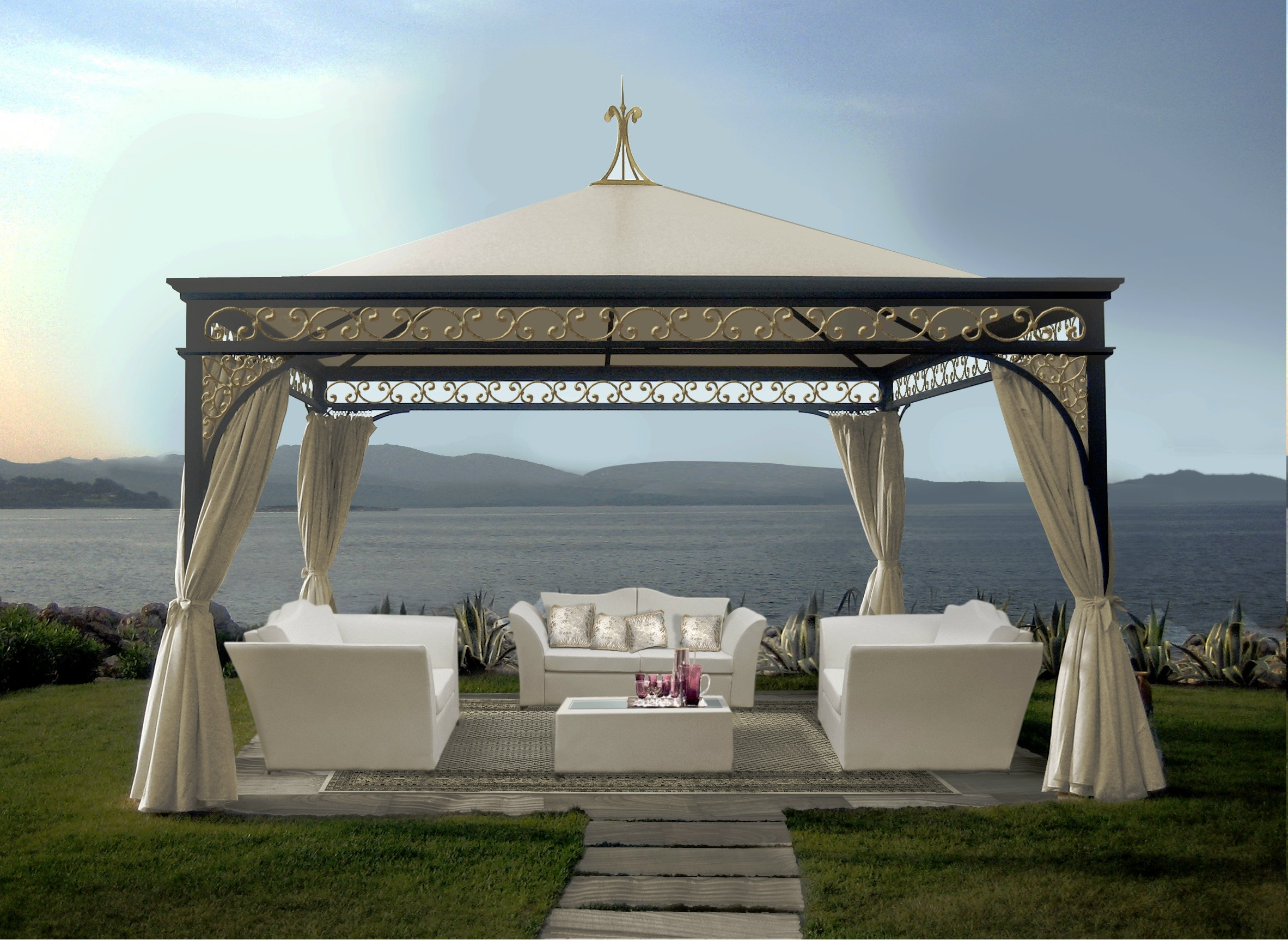 gartenpavillon aus eisen malatesta gold by unosider. Black Bedroom Furniture Sets. Home Design Ideas