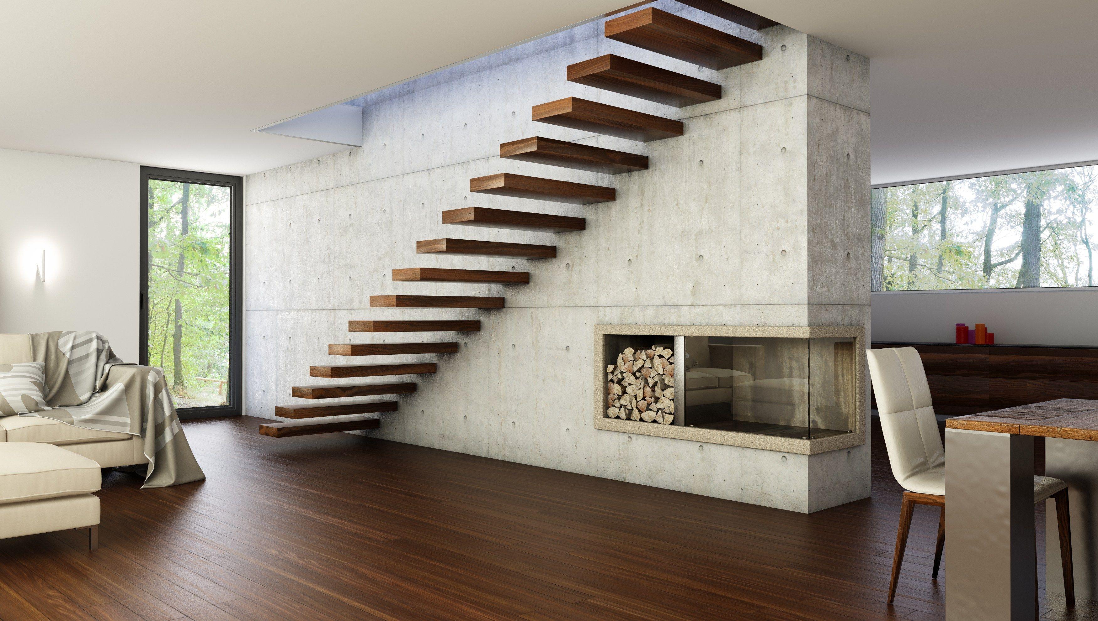 800 escalera volada by interbau suedtirol treppen for Modelos de escaleras internas para casas