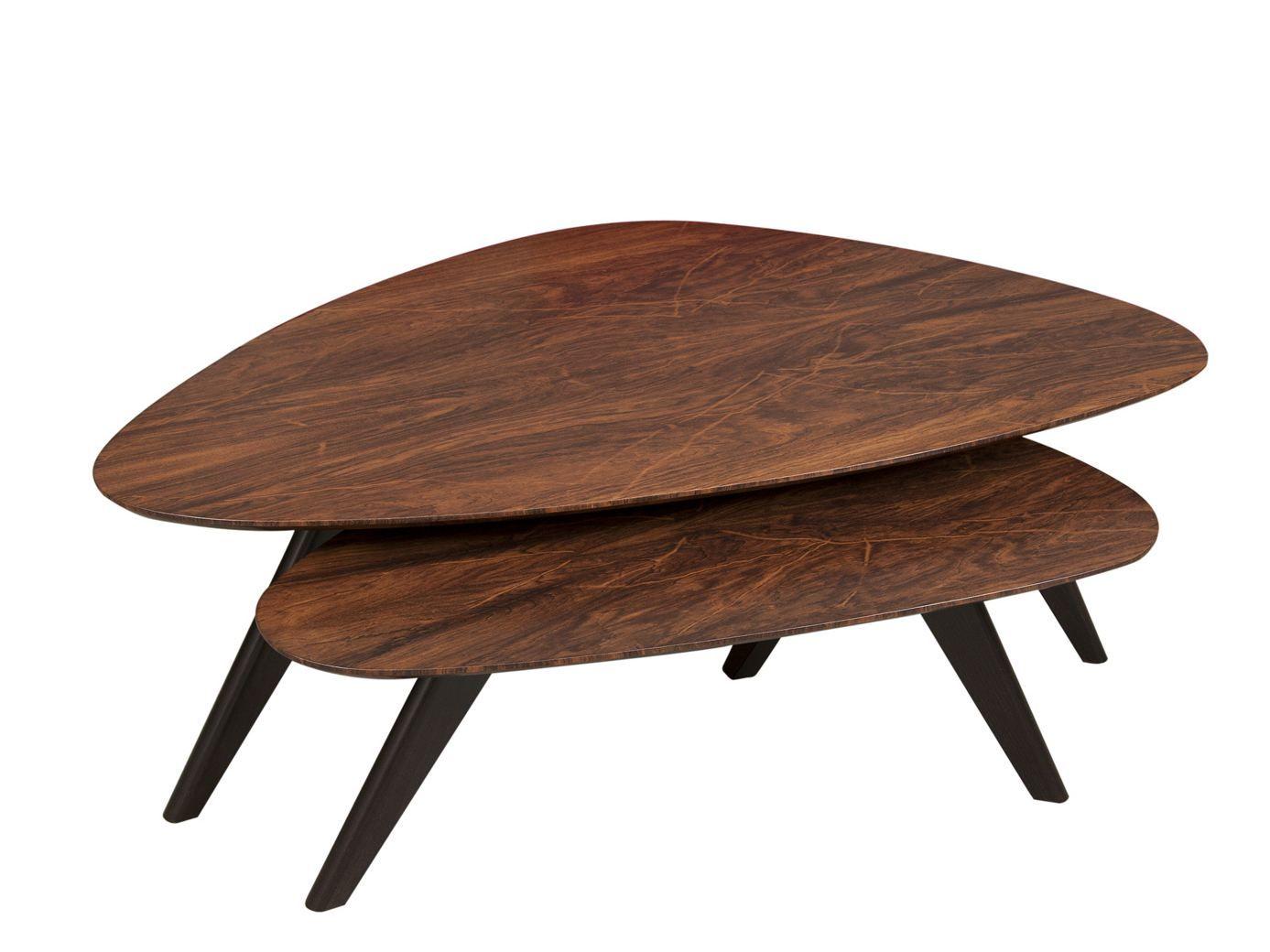 Triangular wooden coffee table jasper by hamilton conte for Paris coffee table