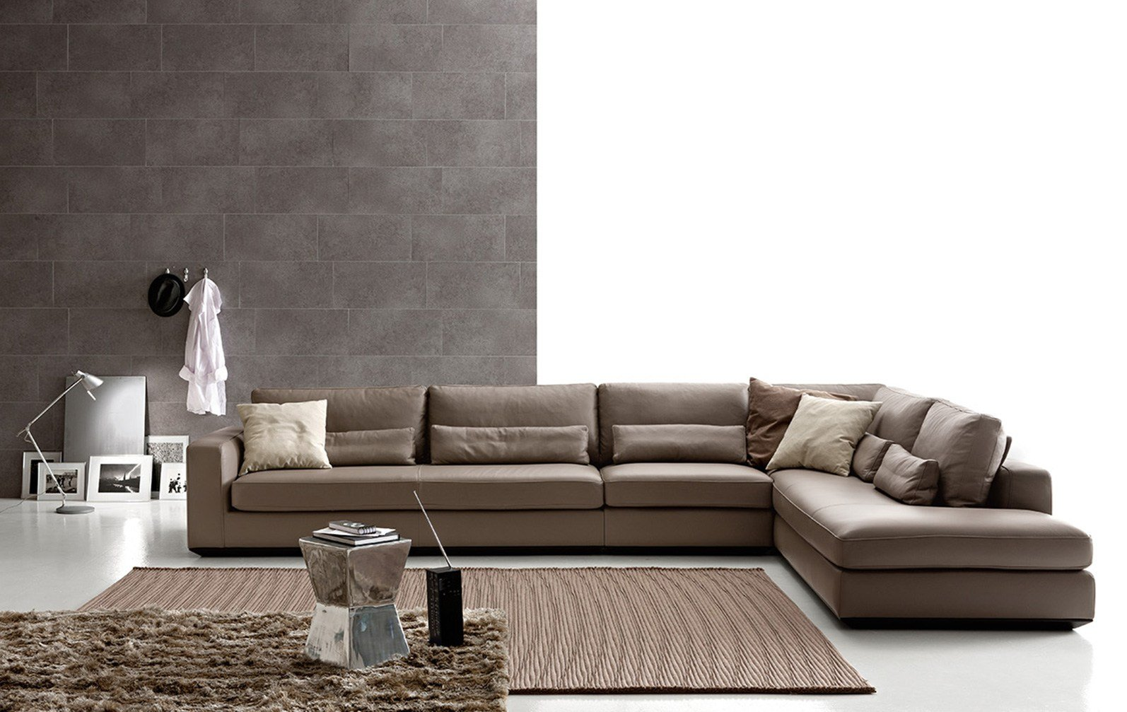 Corner sectional leather sofa loman leather by ditre for Ditre italia