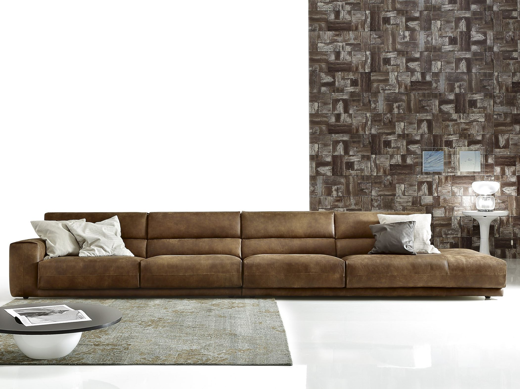 Sectional imitation leather sofa booman leather by ditre - Sofa piel vintage ...