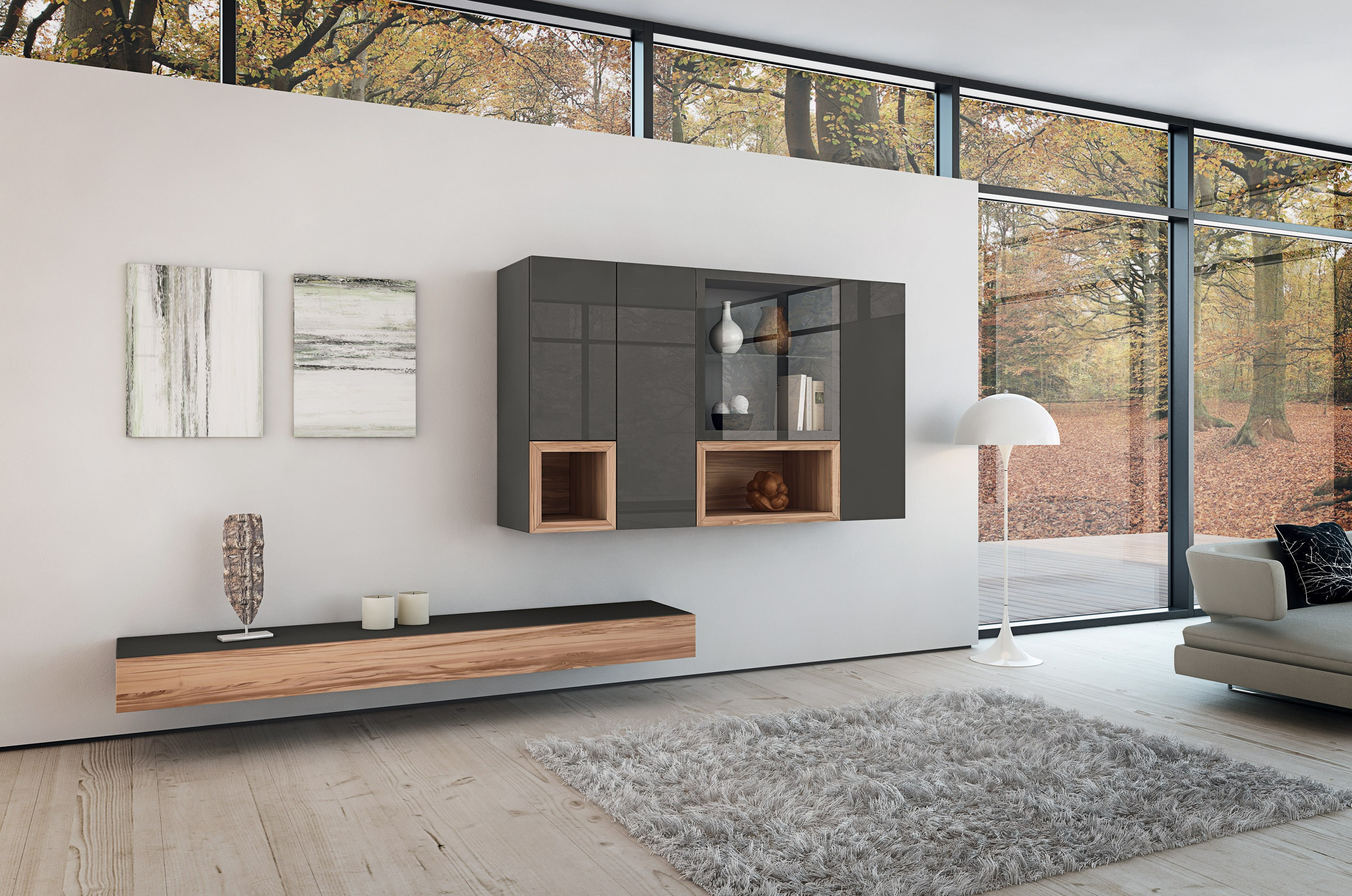 Neo storage wall by h lsta werke h ls for Meuble tv suspendu