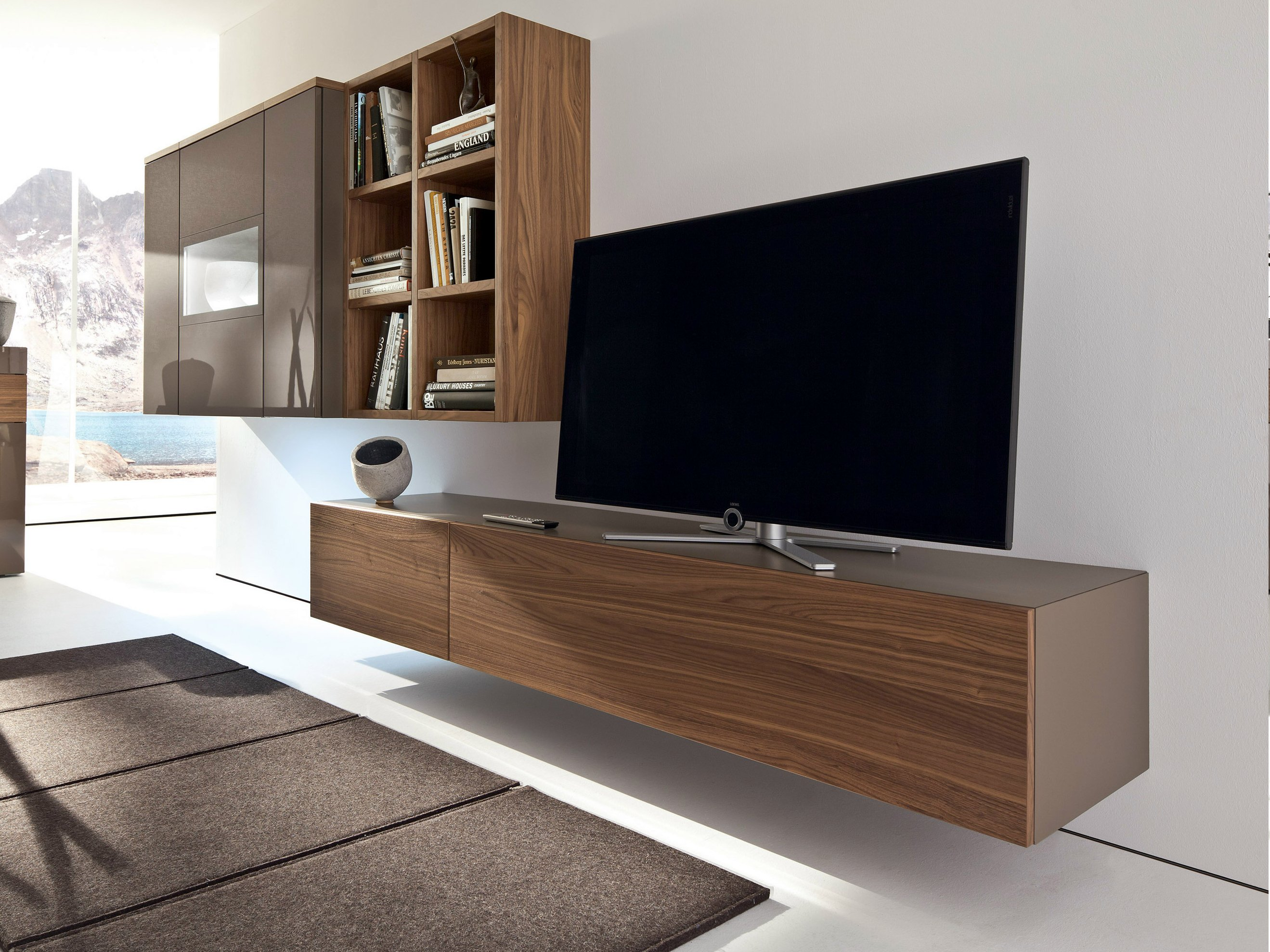 Neo wall mounted tv cabinet by h lsta werke h ls for Meuble tv blanc laque suspendu
