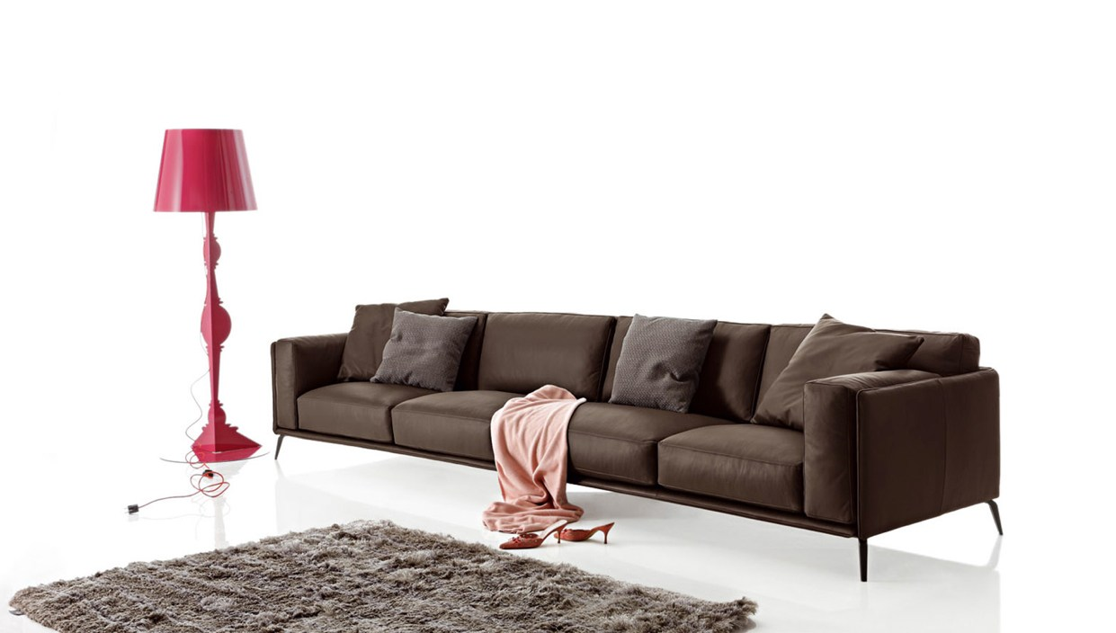 Sectional imitation leather sofa kris leather low by ditre for Low couch