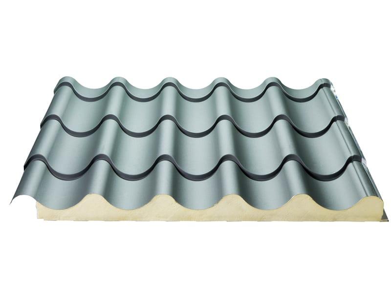 Pannello metallico coibentato per copertura isodomus by isopan for Pannelli coibentati finta tegola prezzo