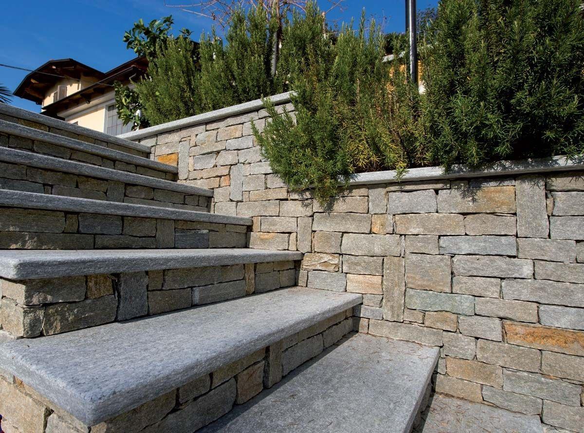 Luserna rustica revestimiento de pared de piedra natural for Scale esterne ville