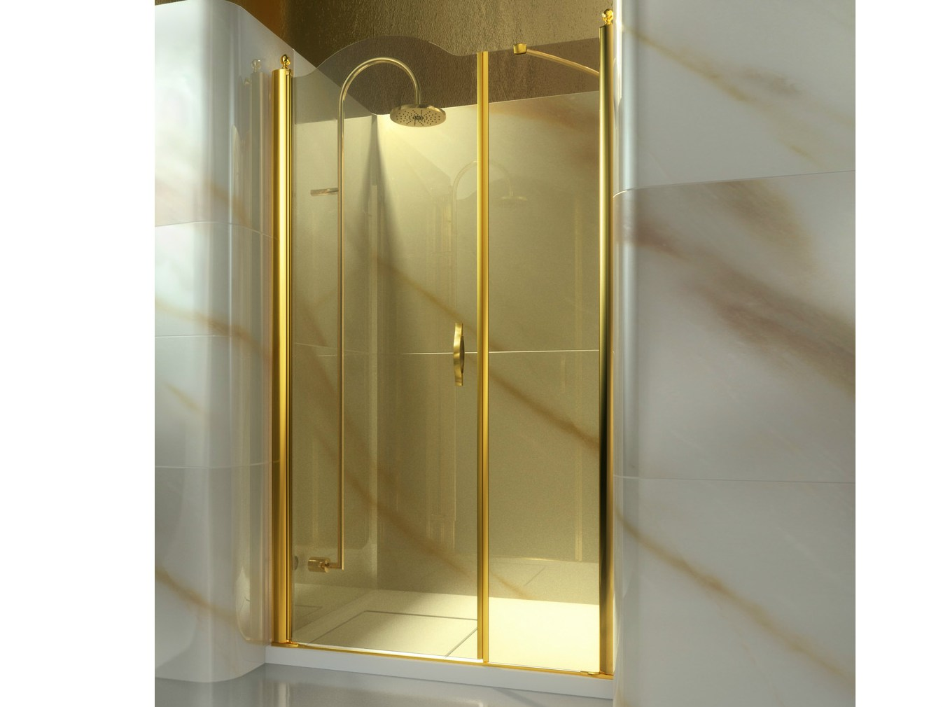 Box doccia a nicchia su misura in vetro temperato gold a2 - Doccia in nicchia ...