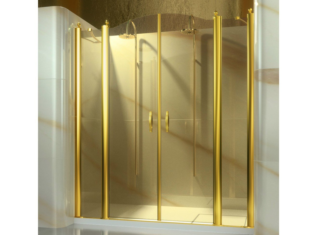 Niche Tempered Glass Shower Cabin Gold A4 Gold Collection