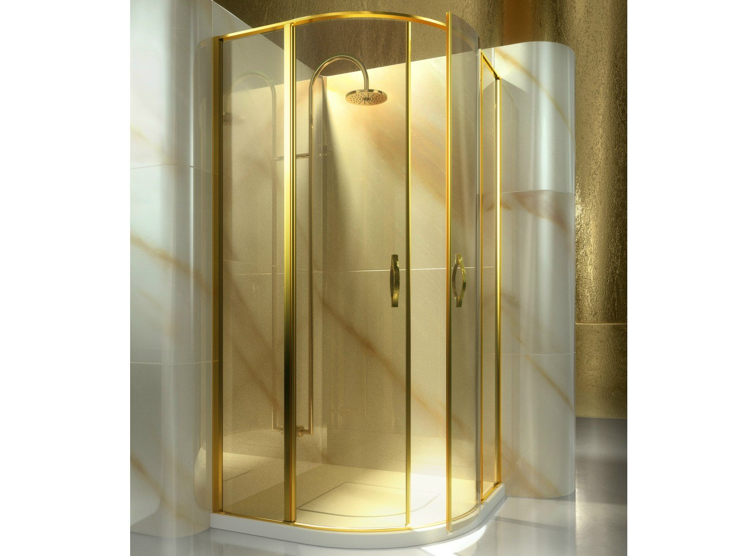 Corner Semicircular Custom Tempered Glass Shower Cabin LT GOLD By