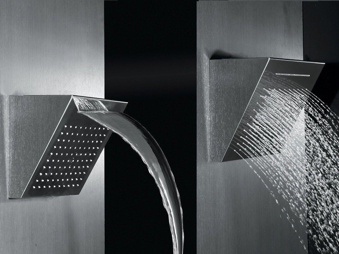 T te de douche cascade mural effet pluie en acier design shower 2014 collec - Tete de douche pluie ...