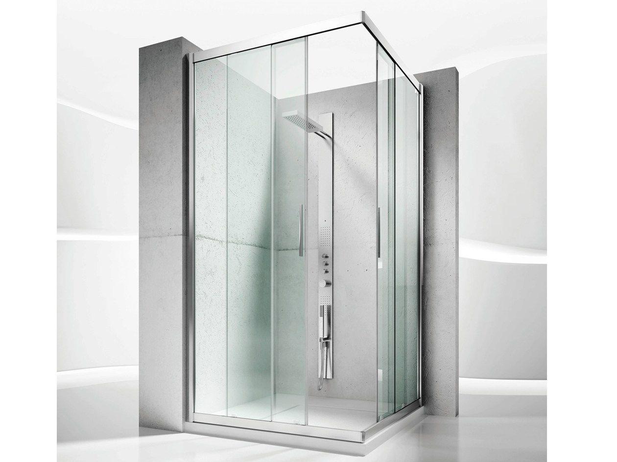 Cabina de ducha de esquina a medida de cristal con puertas ...