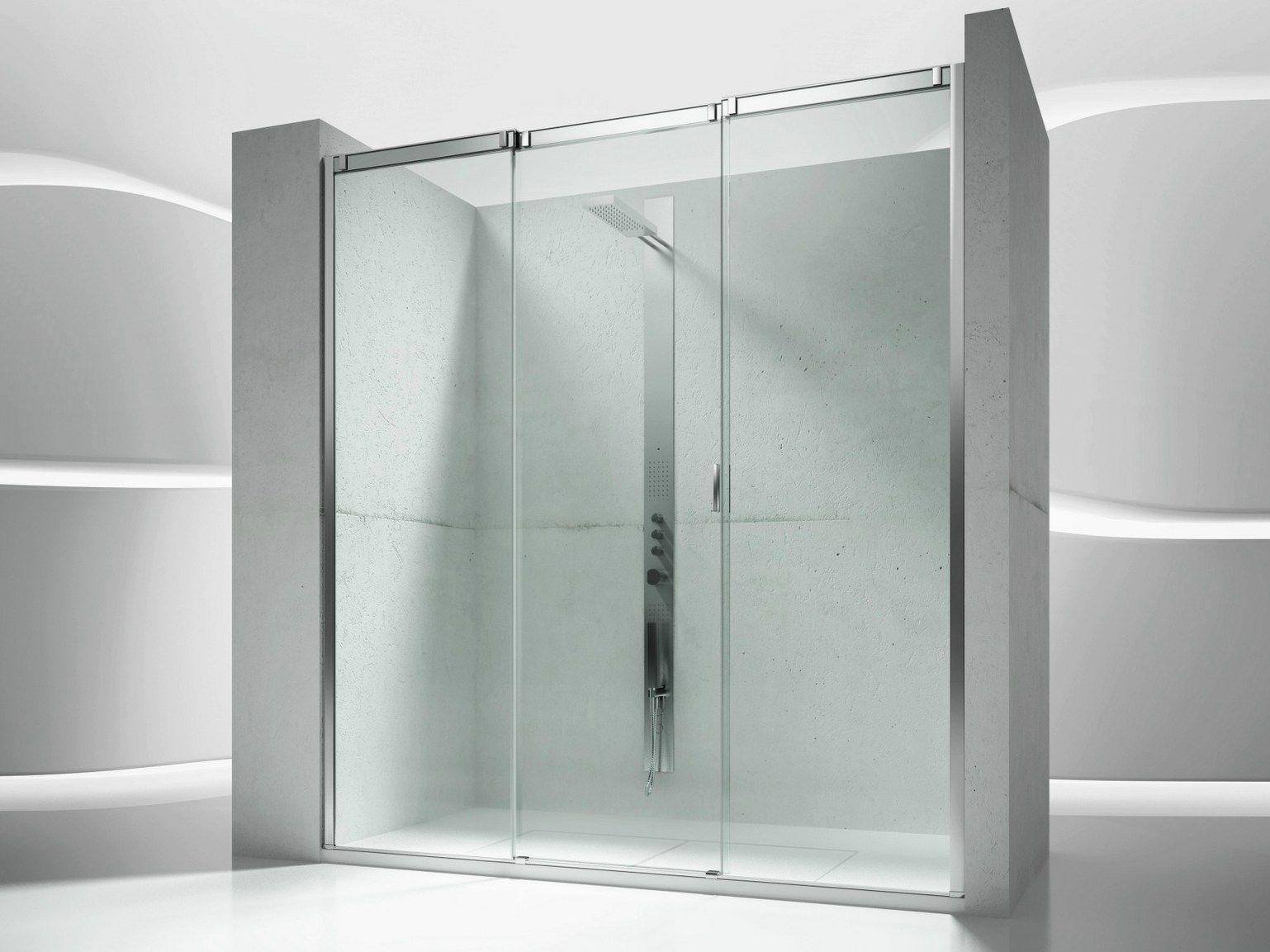 Puertas De Baño Vidrio Templado:Cabina de ducha en nicho de vidrio templado con puertas correderas