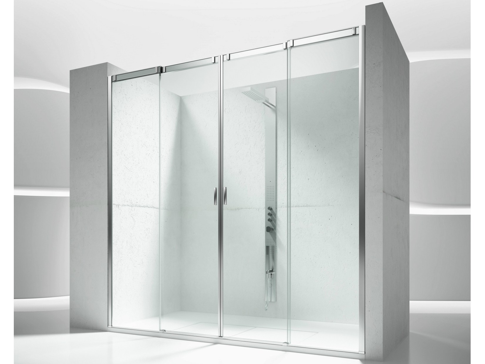 Duchas con puertas de vidrio great vidrio templado slice for Puerta corrediza para ducha