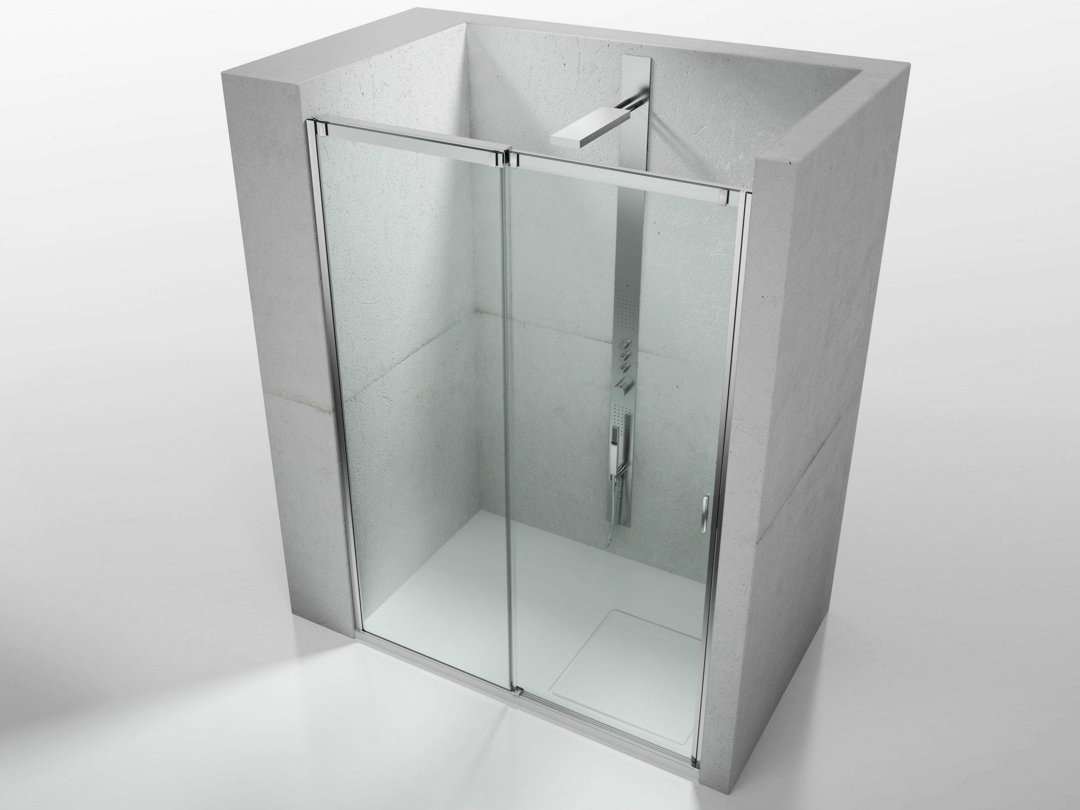 Cabina de ducha en nicho de vidrio templado con puertas - Puertas correderas de vidrio templado ...