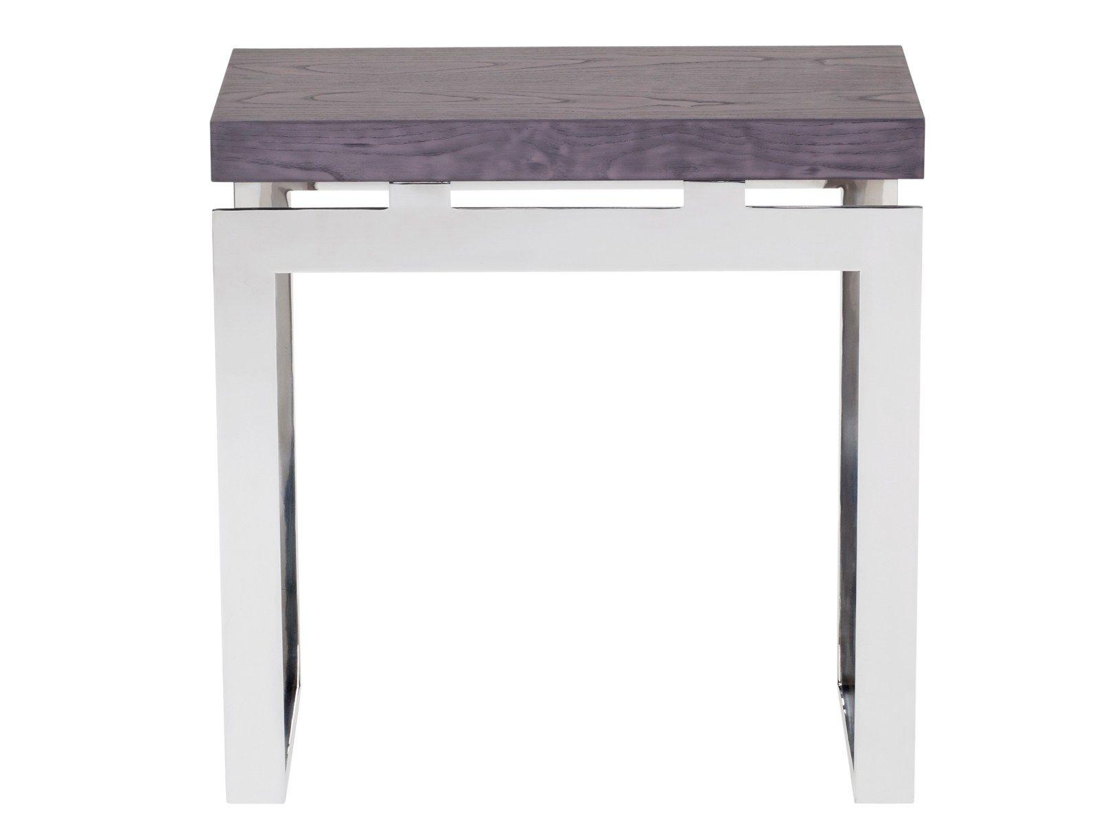 table console rectangulaire en acier inoxydable et bois. Black Bedroom Furniture Sets. Home Design Ideas