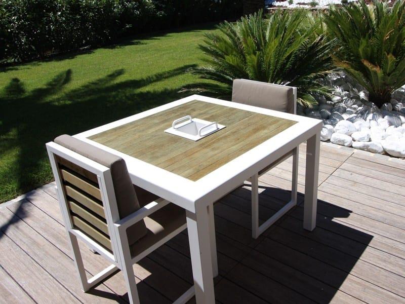 Mesa cuadrada de aluminio y madera para jard n colecci n - Mesa de madera para jardin ...