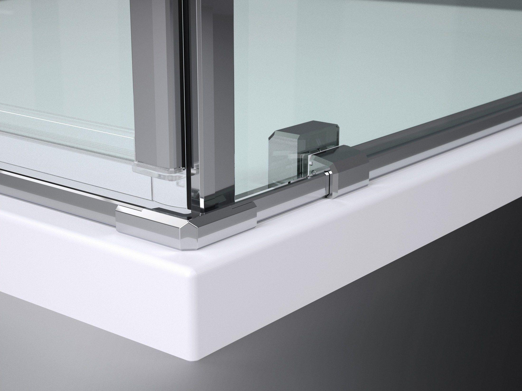 Cabine de douche en niche en verre tremp tiquadro qm by vismaravetro design - Douche en verre trempe ...