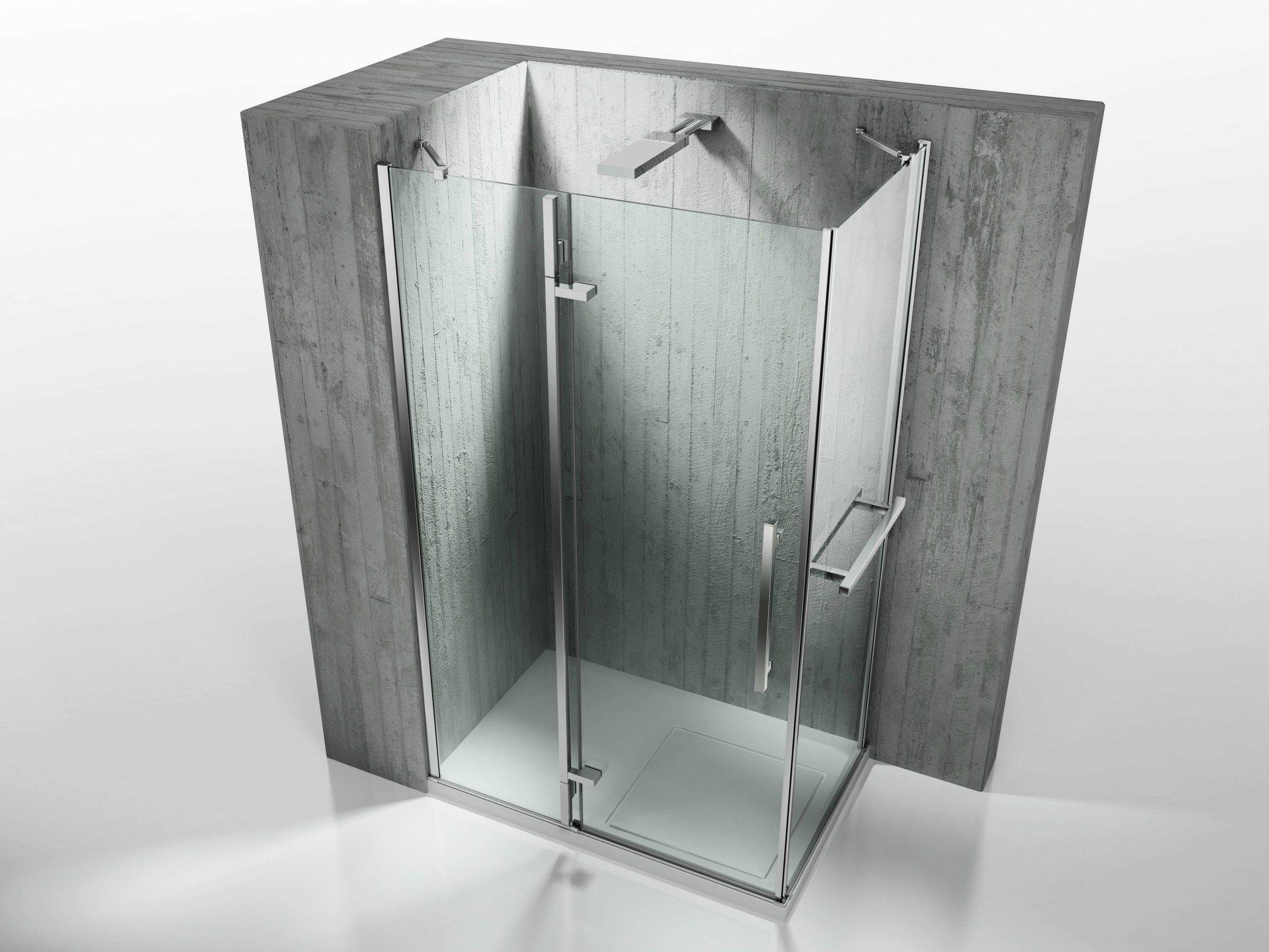 Cabine de douche d 39 angle sur mesure en verre tremp tiquadro qa qf by vis - Montage cabine de douche d angle ...
