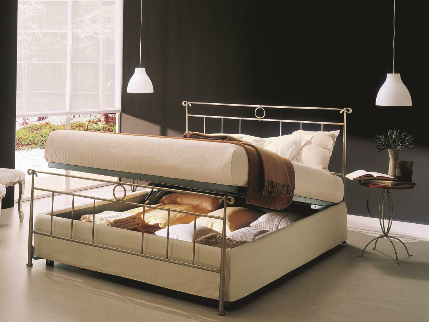 Iron double bed dylan storage bed iron beds collection for Iron bed with storage