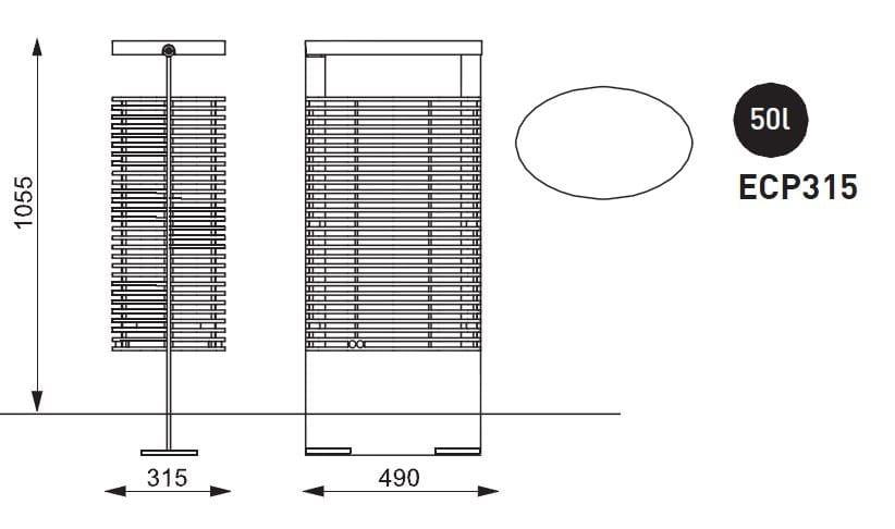 Poubelle d 39 ext rieur en m tal eclipe by mmcit 1 design - Poubelle exterieur design ...