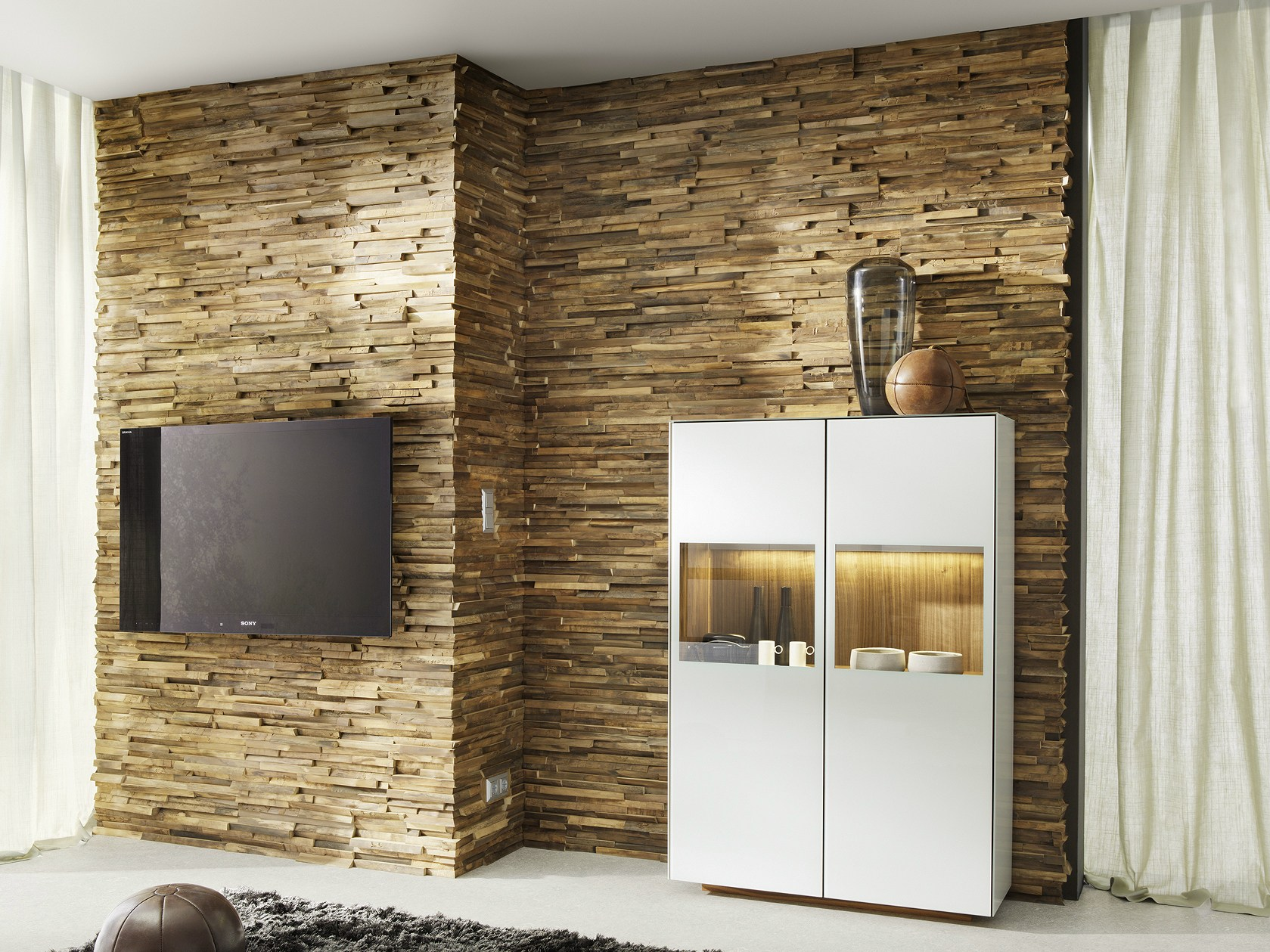 Revestimiento de pared 3d de madera maciza para interiores - Revestimiento paredes interiores ...