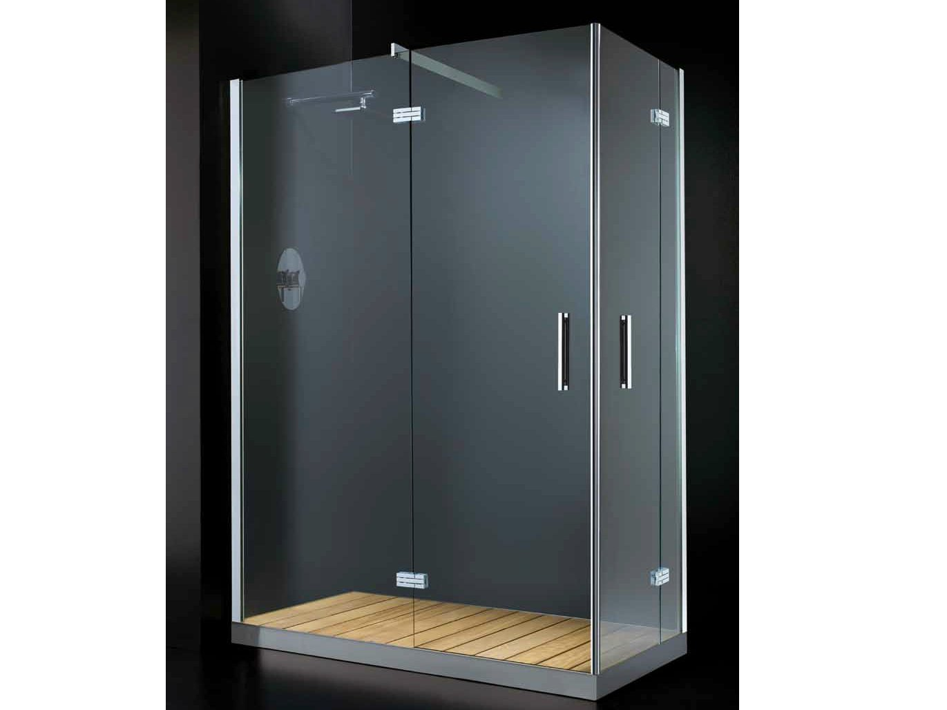cabine de douche d 39 angle rectangulaire avec porte battante. Black Bedroom Furniture Sets. Home Design Ideas