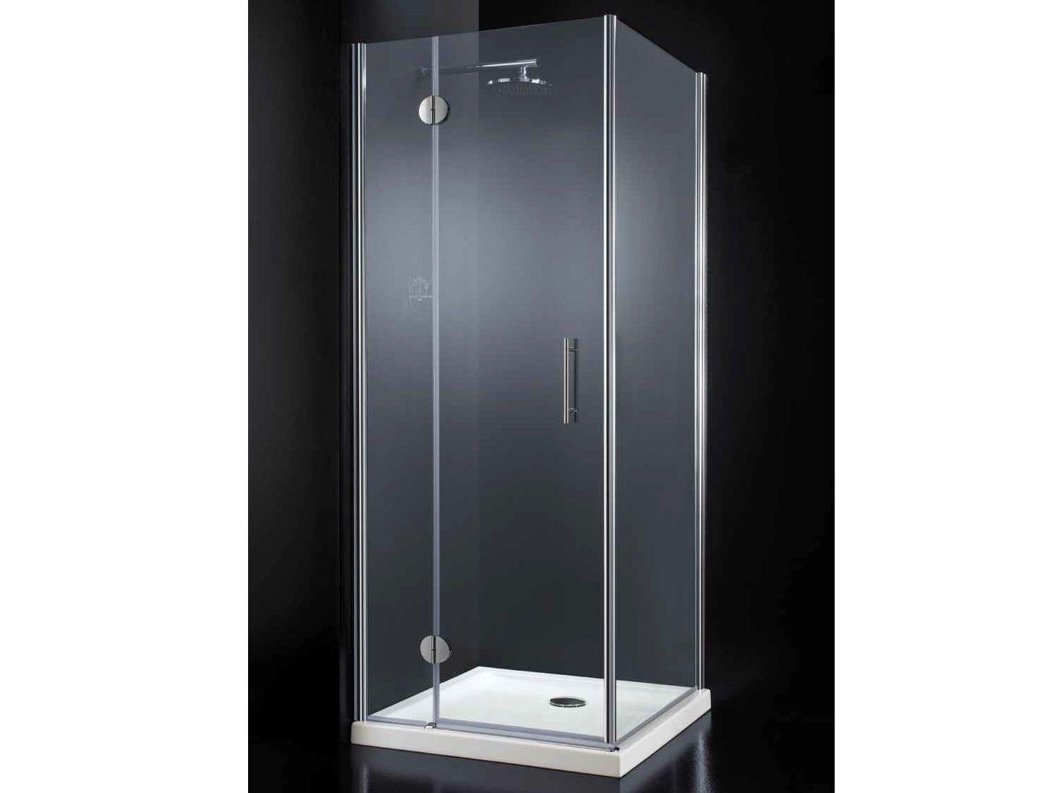 Box doccia angolare in cristallo con porte a battente - Box doccia senza silicone ...