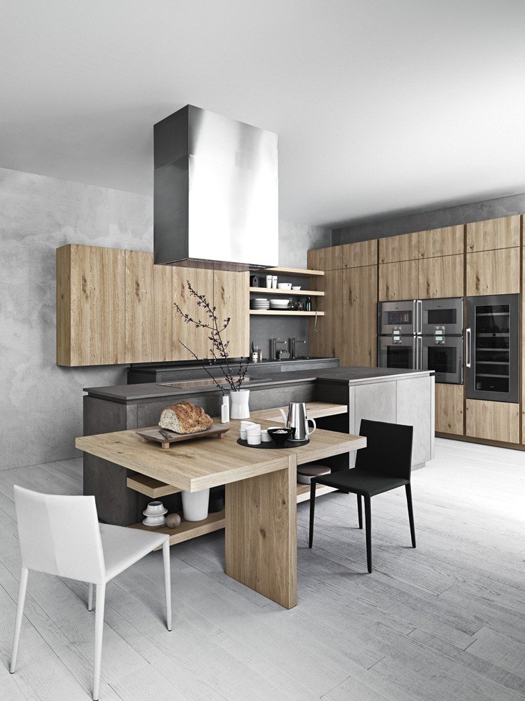 fitted kitchen with island without handles cloe - composition 2 by, Kuchen