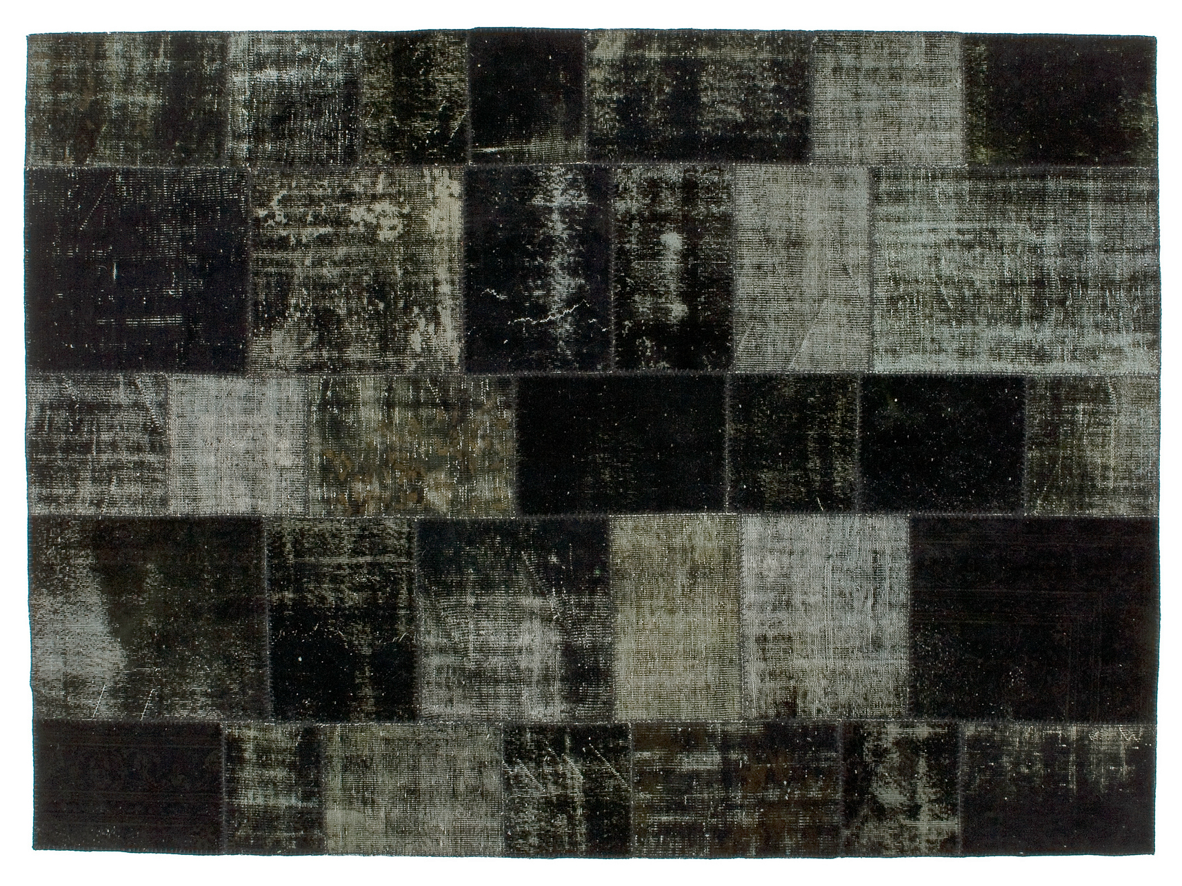 Vintage style patchwork rug PATCHWORK BLACK by Golran